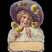 Easter Girl Chicks Embossed Die-Cut Standup