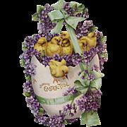 Easter Tide Chicks In Egg Violets Large Die Cut