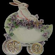 Large Die Cut White Rabbit Driving Egg Car