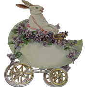 Large Die Cut White Rabbit Driving Egg Car