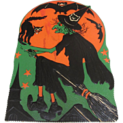 Halloween Large Witch Cat Bats Moon Embossed Die Cut Self Standing