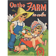 1940 On The Farm Coloring Book