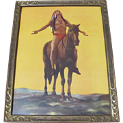Indian On Horseback Vintage Framed Print