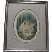 Framed Die-Cut Embossed Two Children in White by Ice Cave