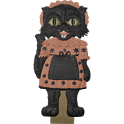 Halloween Black Cat Girl Maid Embossed Die Cut Germany Standup