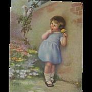 Girl In Blue Dress Squirrel Print Annie Benson Muller