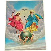 Religious Print Most Holy Trinity God Jesus Baby Angels