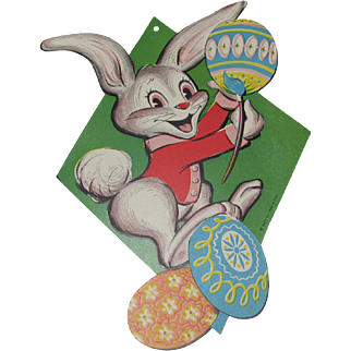 Easter Rabbit Painting Eggs Beistle Cutout Decoration