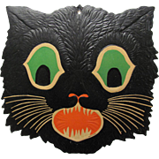 Halloween Large Green Eyed Cat Face Embossed USA
