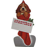 Puppy In Red Christmas Stocking Cardboard Die-Cut