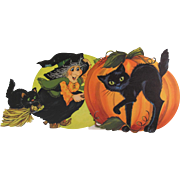 2 Halloween Hallmark Wall Decorations Witch Cat JOL