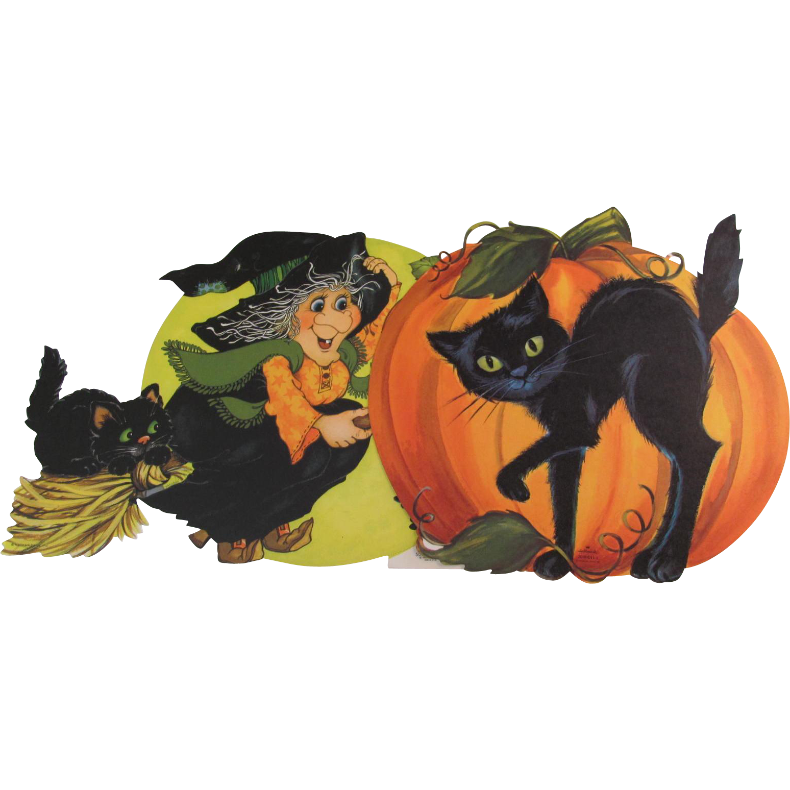 2 Halloween Hallmark Wall Decorations Witch Cat JOL