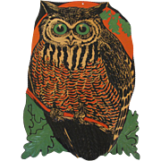 Halloween Large Owl Against the Moon Embossed Die-Cut USA