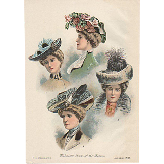 Fashion Hats Page Jan 1902 Delineator