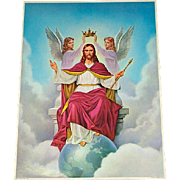 Religious Print Christ the King Angels Crowning Jesus