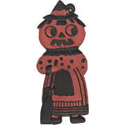 Small Heavily Embossed Halloween JOL Maid DieCut Germany