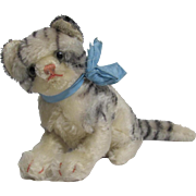 Sitting Tabby Cat Black White Mohair Stuffed Toy