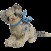Sitting Tabby Cat Black White Mohair Stuffed Toy