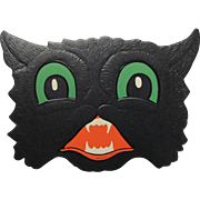 Halloween Lightly Embossed Black Cat Face