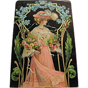 Stunning Embossed Victorian Lady In Pink Dress & Hat