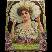 Embossed Advertising Die Cut Beautiful Victorian Lady In White
