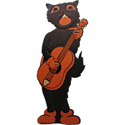 Halloween Large Black Cat Guitar Band Member Embossed Die-Cut