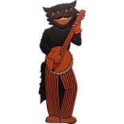 Halloween Large Black Cat Banjo Band Member Embossed Die-Cut