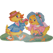 Large Easter Dressed Duck and Chick Decoration Cutouts