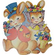 Large Dennison Easter Dressed Rabbits Cutout Decoration