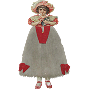 Large Christmas Ornament Litho Girl & Cat Cotton Batting Dress