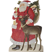 Large Christmas Santa With A Deer German Stand-Up Die-Cut