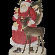 Large Christmas Santa With A Deer German Stand-Up Die-Cut