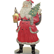 Large Santa Tree Sack Toys & Lantern German Die-Cut