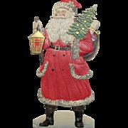 Large Santa Tree Sack Toys & Lantern German Die-Cut