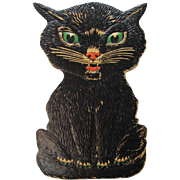 Large Halloween Sitting Black Cat  Embossed USA Die-Cut