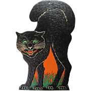 Large Halloween Arched Snarling Black Cat  Embossed USA Die-Cut