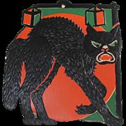Halloween Embossed German Die-Cut Mean Black Cat