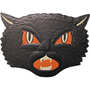 Halloween Black Cat Snarling Face Embossed Die Cut H.E. Luhrs USA