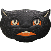 "Halloween Black Cat Smiling Face Embossed Die Cut marked H.E. Luhrs USA measuring approx. 5.75"" high x 8.25"" wide. Excellent condition."