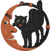 Large Heavily Embossed Halloween Cat Crescent Moon DieCut Germany