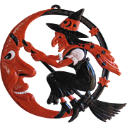 Halloween Flying Witch In Crescent Moon Embossed  Die-Cut Germany