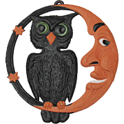 Large Heavily Embossed Halloween Owl Crescent Moon DieCut Germany