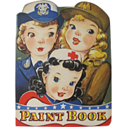 1943 Military & Red Cross Gals Paint Book Unused