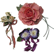 Three Millinery Flowers Roses Pansies