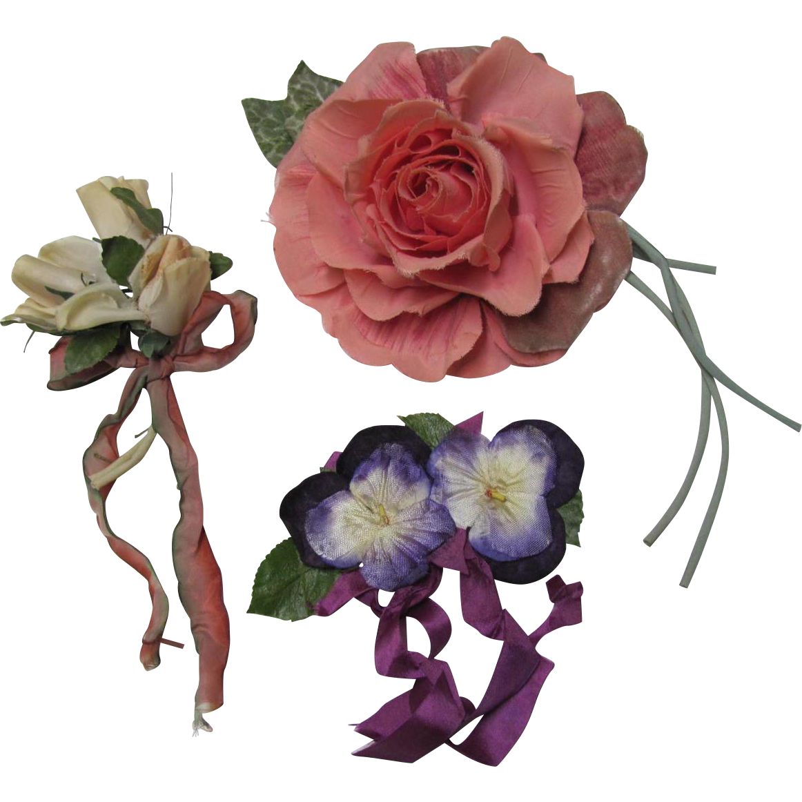 Three Millinery Flowers Roses Pansies