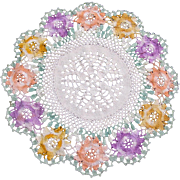 Multi Colored Crochet Round Doily