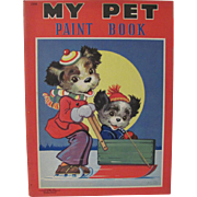 1940 My Pet Paint Book Dressed Dogs Unused
