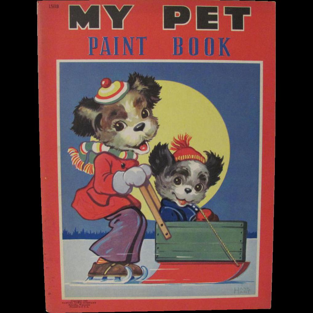 1940 My Pet Paint Book Dressed Dogs Unused