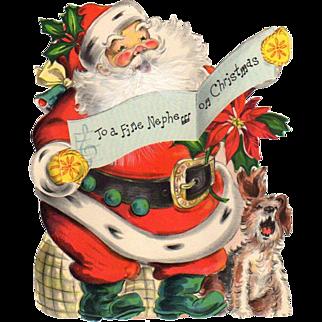 1946 Die-Cut Hallmark Santa Nephew Stand-Up Card