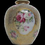 Small Nippon Vase Roses Raised Beaded Design